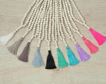 Agarwood Mala Necklace - Natural Wood Beads Tassel Necklace - Traditional Tibetan Buddhist Mala - Long Bohemian Yoga Meditation Necklace