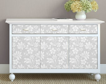 Furniture Decal GREY FLOWERS Quality Furniture Sticker, Ideal For Dressers,  Cabinets, Closets,