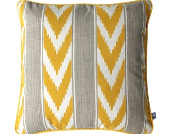 YELLOW IKAT Stripe Outdoor Cushion Pillow | 50cm | 20 inch Square