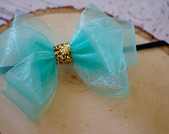 Mint blue gold baby headband, Ribbon bow headband, Chiffon baby bow headband, Nylon baby bow headband, girls bow headband, big bow headband