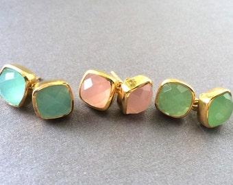 Stud Earrings, Chalcedony Earrings, Chalcedony Stud Earrings, Aqua Chalcedony Earrings, Pink Chalcedony Earrings, Green Chalcedony Earrings