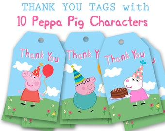 Peppa Pig Tags, Thank you Tags, Favor Tags
