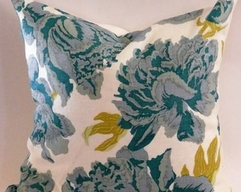 Christopher Farr Cloth Pillow Cover in Peonies Aqua