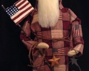 Handmade Primitive Americana Santa Doll