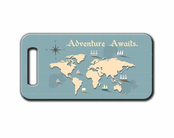 Luggage Tag, Bag Tag, Adventure Awaits,Traveler,World, Adventurer Gift, ID Tag, Gift | BlueFoxGifts_007