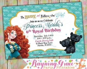 Brave/ Princess Merida Printable Birthday Party Invitations (Digital/Printable)
