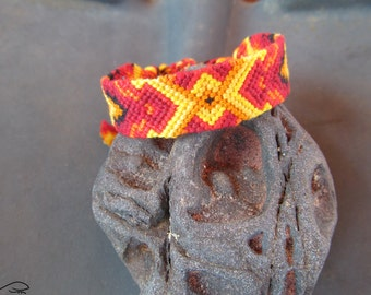 Friendship Bracelet, Woven Bracelet, Red Orange Yellow Black Friendship Bracelet, Fire Bracelet, Knotted Bracelet, Macrame Bracelet (035/2)