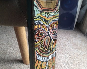 The Owl King - Reclaimed Wood Block painting by Joshua & Alison Rosell