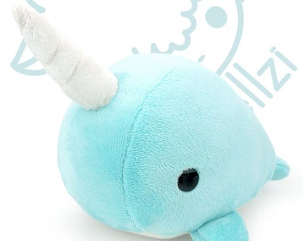 """Bellzi® Cute Narwhal Stuffed Animal Plush """"Teal"""" w/ White Contrast - Narrzi"""