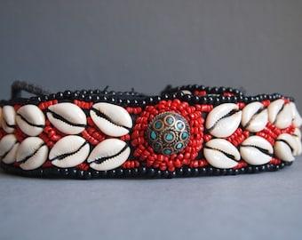 Tribal shell belt - fabric belt - cowrie shell belt - ethnic belt - hippie -beaded belt - gypsy belt - island chic - 70's -boho - tropical