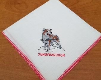 Souvenir Jungfraujoch Switzerland Handkerchief   #44
