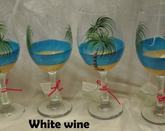 Tropical Palm Beach wine glasses, set of 4