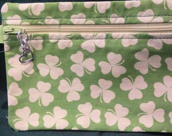 Cosmetic bag - Make-up bag -  Irish themed - Shamrocks - Accesory Bag - Change Purse
