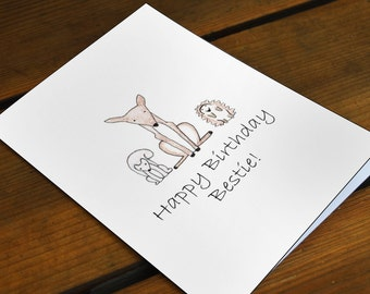 Happy Birthday Bestie Deer Squirrel and Hedghog Forest Friends Doodle Blank Greeting Card 5 x 7 inches