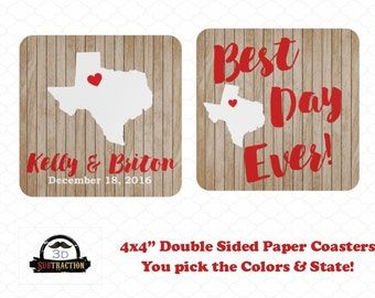 Rustic Wood Wedding Coaster Favors | Engagement Party | Best Day Ever Coasters | Personalized Custom Coasters | Shower Favors | His and Hers