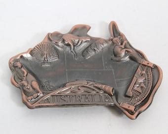Vintage Australia Dish Metal Ashtray, Vintage Souvenir Ashtray