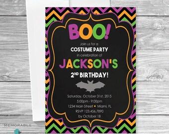Kids Halloween Birthday Invitation - Cute Halloween Birthday Invitation - Birthday Invitation - Halloween Invitations - Printable Invitation