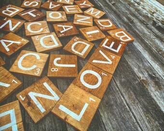 LARGE Wooden Scrabble Tiles/Letters