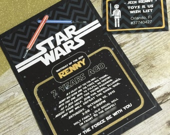 STAR WARS Inspired Birthday Invitation - Any Age - Any type of Event Galaxy Invite - Printed or Printable File Free shipping