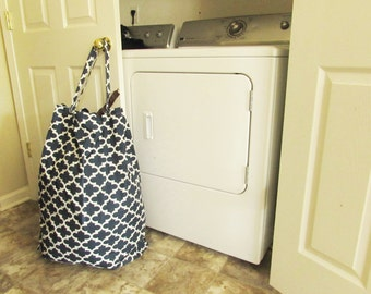 Laundry Sack - Waxed Cotton Clothes Hamper with straps - Choose Your Print and Colors - For College Dorms, Laundry Mats, One for Each Kid