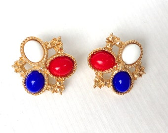 Red, White and Blue Vintage Sarah Coventry Patriotic Americana Button Earrings