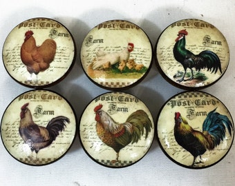 Set of 6 French Country Chicken Rooster Cabinet Knobs