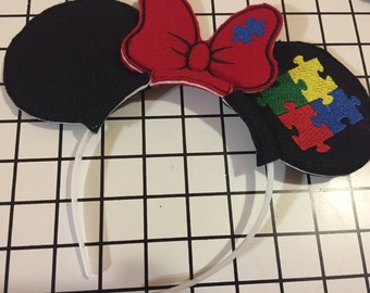 Autism. Awareness. Mouse Ears headband.