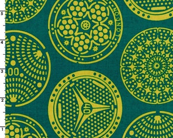 Kokka Fabric, Medallion Fabric -  Manhole - Wanderlust by Thomas Knauer 50600 604 C - Teal - Priced by the 1/2 yard