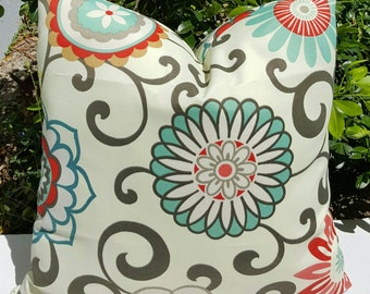 Floral Print Waverly SunNShade Pom Pom Play Peachtini Brown Grey Blue White Indoor Outdoor Decorative Throw Pillow Cover with Hidden Zipper