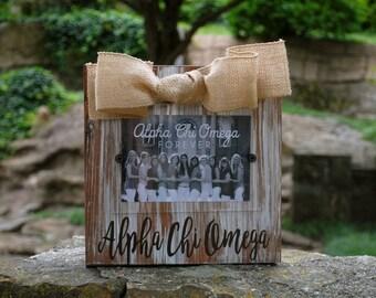 Alpha Chi Omega Whitewashed Rustic Frame
