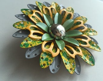Vintage flower brooch in green, yellow and silver