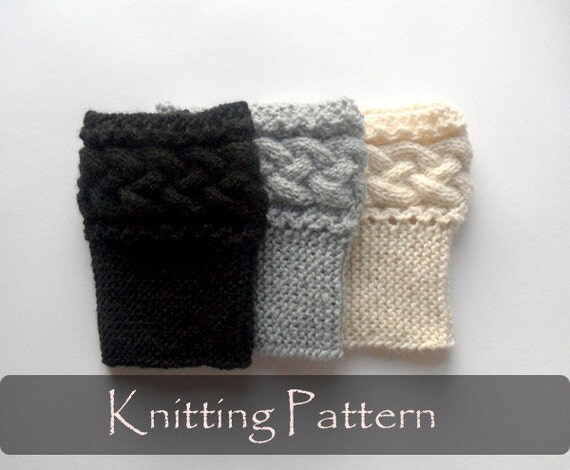 Boot Socks Knitting Pattern : KNITTING PATTERN Braided Boot Toppers Cable Knit Boot Cuffs