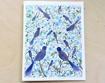 Blue birds in branches greeting card 4.25x5.5 blank inside