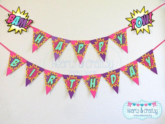 Girl Superhero Birthday Banner / Girl Super Hero Party / Superhero ...