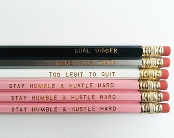 Keep It Sharp Gold Engraved Graphite Pencils - Set of Six