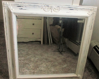 Large Mirror, Shabby Chic White Painted Mirror, Wall Mirror, Home Decor Farmhouse Mirror  High Quality Painted Beveled