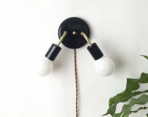 Black Metal Brass Double Arm Wall Sconce
