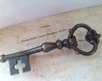 """High quality antique brass """"Vintage Key"""" dresser drawer pulls handles / Cabinet Knob Pull Handles / Vintage Furniture Knobs Handle -DP0375"""