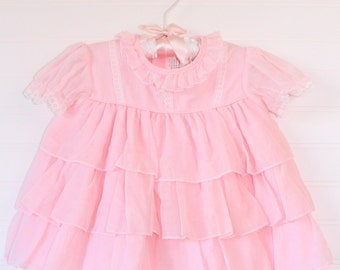 Vintage baby dress light pink frilly, no name sz 6-9 mo