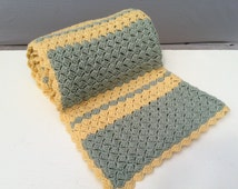 "Sage-Moss Green & Yellow Afghan. 72"" x 76"" Couch/Chair/Bed/Blanket/Throw/Crocheted/Simple/Textured/Cozy Soft Handmade!"