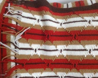 Hand Crocheted Vintage Afghan, rust, brown, cream earth tones, reversible 34 x 50