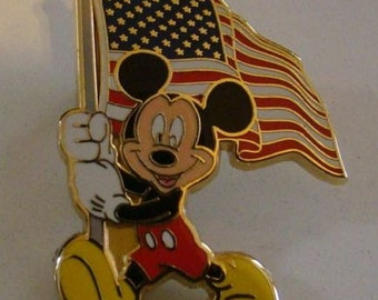 Mickey mouse with flag pin