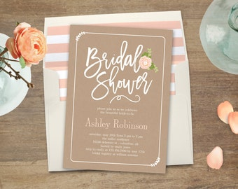 Printable Bridal Shower Invitation - GARDEN BLOOM - with Bonus Printable Envelope Liner #GBC