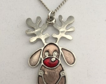 Rudolf the Reindeer Necklace in English Pewter, Handmade, Gift Boxed,(h-24)
