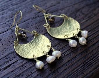 Bronze Hammered Earrings Handmade
