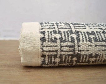 Printed cotton rug, gray color, basket weave print, 100% cotton, size 36X60 inches
