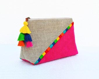 Fuschia Boho pouch, colour block, linen velvet bag, clutch bag, embroidered, 9X6X3inches