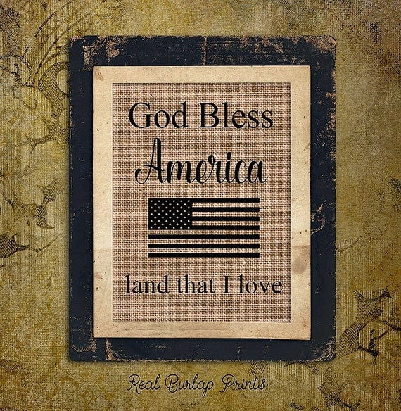 Patriotic | God Bless America | Flag | Burlap Print | Personalized | USA |  #0153