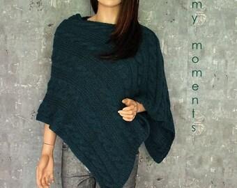 PONCHO Wool / Alpaka blue green melange
