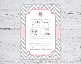 Pink & Gray Owl Chevron Baptism or Christening Invitation   5x7   Print-It-Yourself   Digital Download   Printable   Custom Invitation